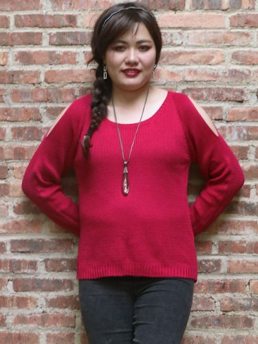 Women's Sweater Plus Size Solid Color Crew Neck Casual Long Sleeve