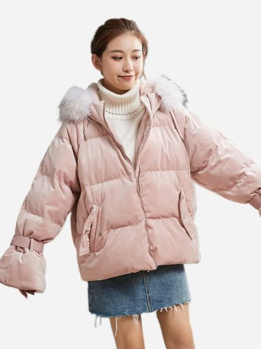 Tonlion Women's Quilted Coat Sweet Flare Sleeves Warm Hooded Zipper Solid Color Casual Long Sleeve Loose