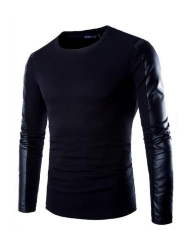 Men's T Shirt PU Patchwork T Long Sleeve Slim Casual Crew Neck Solid