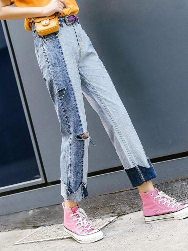 Women's Jeans Hole Decor Straight Leg Frayed Hem High Waist Casual Solid Color Loose