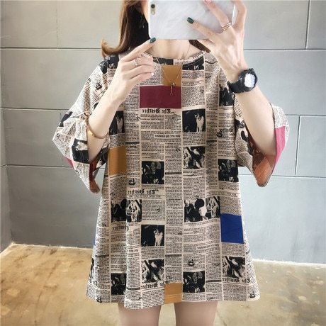 Women's T Shirts Spandex Polyester Crew Neck Short Sleeve Floral Print Loose Sweet