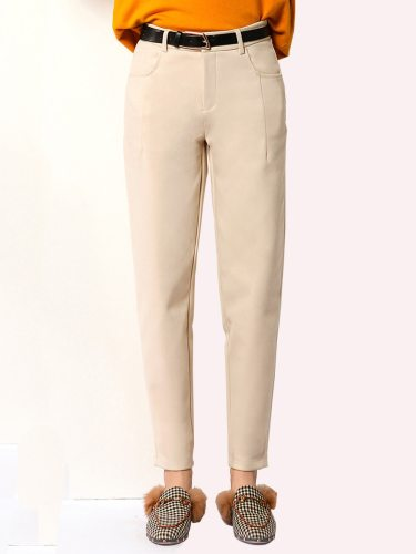 E·BECKY Women's Casual Pants Color Thicken Casual Cropped Loose Solid