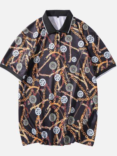 Men's Polo Shirt Fashion Print Colorblock Casual Short Sleeve Turn Down Collar