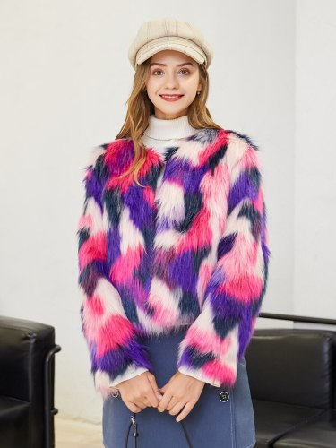 Women's Synthetic Fur Coat Sweet Crew Neck Long Sleeve Colorblock Single Breasted