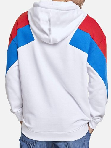 Men's Hoodie Fashion Patchwork Casual Hooded Colorblock Sports Long Sleeve