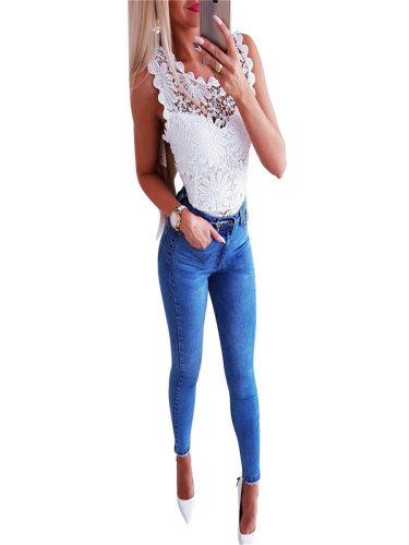 Women's Jeans Pocket Appliques Denim Solid Color Slim Rhinestone Long Celebrity&Elegant Mid Waist