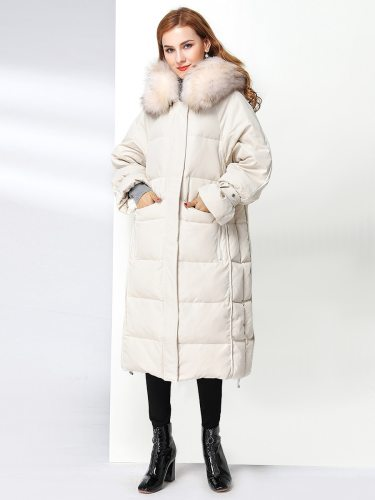 E•BECKY Women's Down Coat Color Furry Hood Warm Hooded Zipper Long Sleeve Solid Loose
