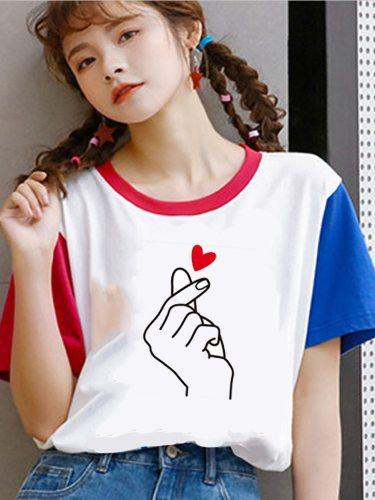 Women's T Shirt Colorblock Simple Heart Pattern Crew Neck Short Sleeve Floral Print Top Fashion