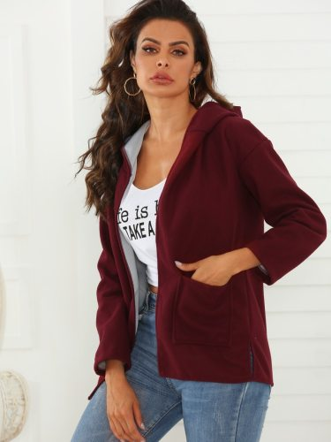 Women's Blend Solid Color Long Sleeve Casual Hooded Open Front Split