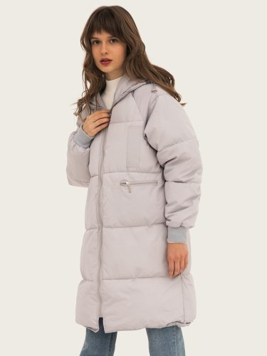 Women's Quilted Coat Thicken Solid Color Hooded Patchwork Pocket Long Simple Zipper Long Sleeve