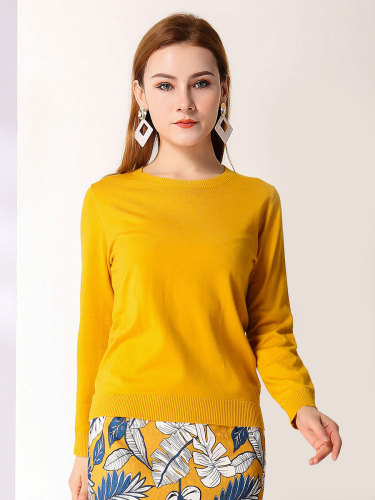 E·BECKY Women's Simple Fashion Wild Thin Women's Casual Long Sleeve The various accessories in the picture are for shooting and matching Crew Neck