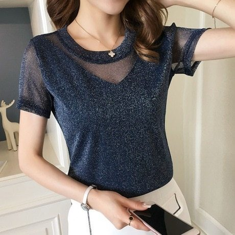 Women's T Shirt Lace Patchwork Short Sleeve Solid Color Crew Neck Casual