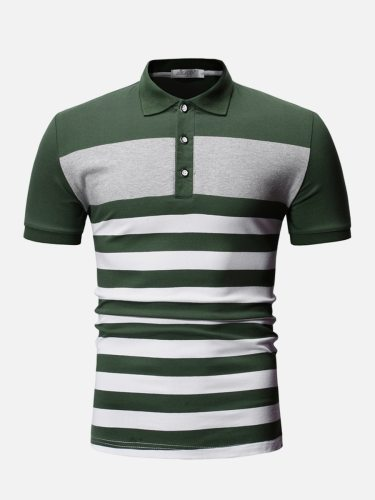 Men's Polo Shirt Striped Pattern Color Block Comfy Colorblock Casual Turn Down Collar Short Sleeve