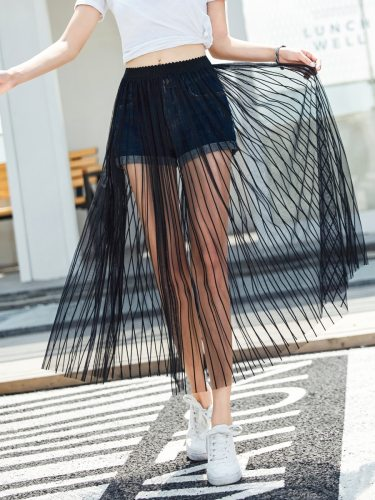 Women's Skirt Casual Solid Color Midi Striped Pleated High Waist
