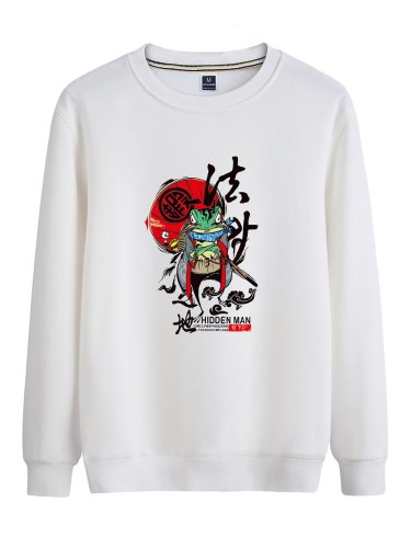 Men's Sweatshirt Cartoon Pattern Casual Print Crew Neck Sweatshirts Long Sleeve