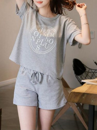 Women's Shorts Suits T Shirt Cozy Shorts Crew Neck Geometry Short Sleeve Casual High Waist