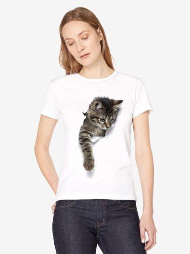 Women's T Shirt Simple Print Short Sleeve Animal Crew Neck Casual