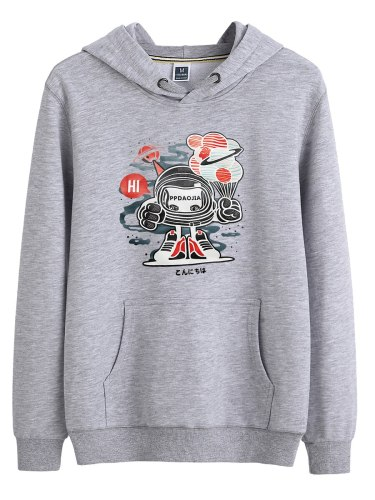 Men's Hoodie Fashion Pocket Hooded Print Casual Loose Long Sleeve