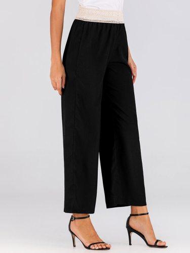 Women's Fashion Elastic Waist Mid Waist Casual Solid Color Wide Leg Pants Broche Ninth