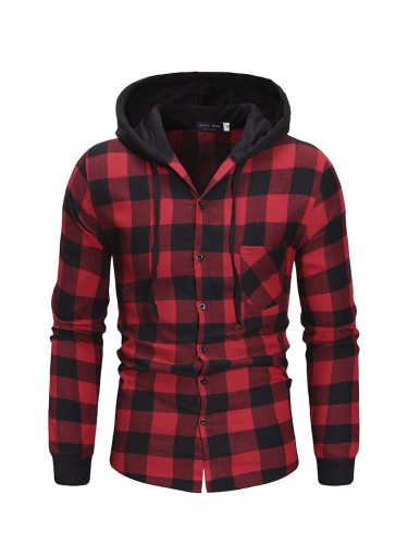 Men's Shirt Checkered Hooded Buttons Long Sleeve Plaid Casual
