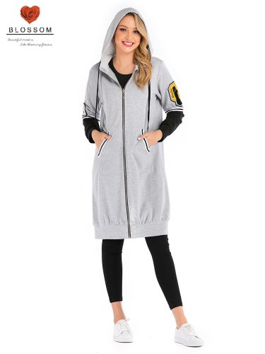 BLOSSOM Women's Hoodie Sleeve Pocket Zipper Long Loose Street Style Patchwork Hooded