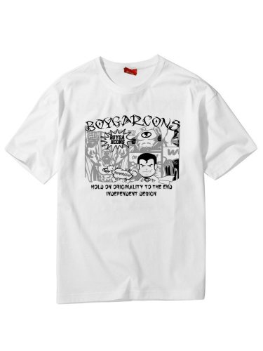 Men's T Shirt Cartoon Pattern Geometric Slim Short Sleeve Crew Neck Casual