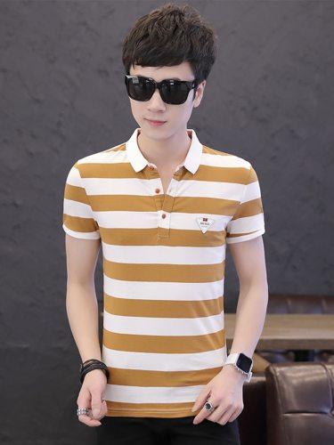 Men's Polo Shirt Color Block Breathable Slim Striped Turn Down Collar Short Sleeve Fashion