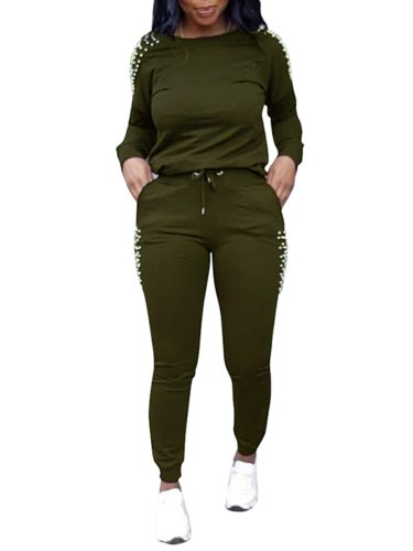 Women's 2Pcs Casual Pants Set Solid Color Sweatshirt Stylish Trousers Slim Long Sleeve