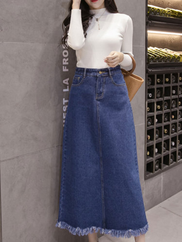 Women's A Line Skirt Fashion High Waist Simple Midi Solid Color