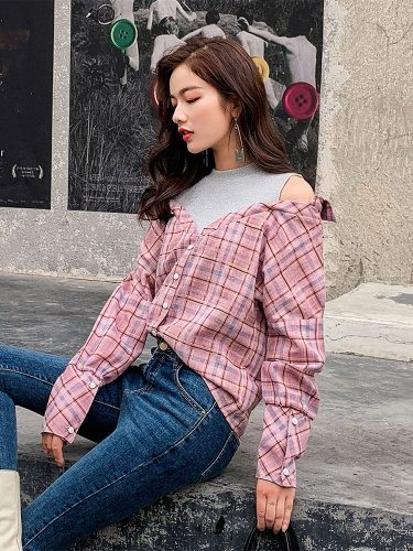 Women's Blouse Patchwork Checker Pattern Hollow Out Loose Long Sleeve Check Pattern Top Fashion Crew Neck