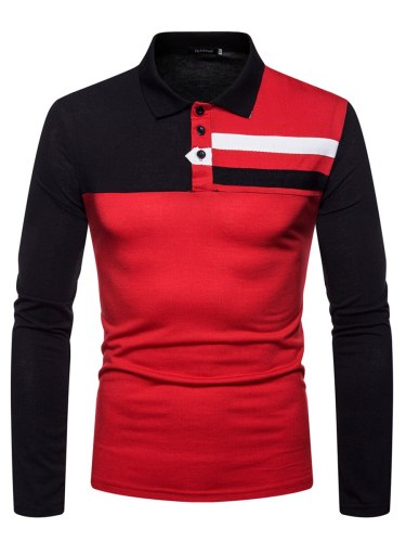 Men's Polo Shirt Fashion Color Block Turn Down Collar Slim Patchwork Long Sleeve Casual