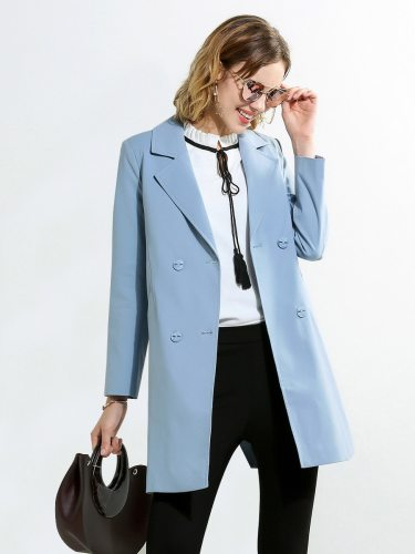 E•BECKY Women's Trench Coat Color Ladylike Fashion Turn Down Collar Double Breasted Solid Long Sleeve