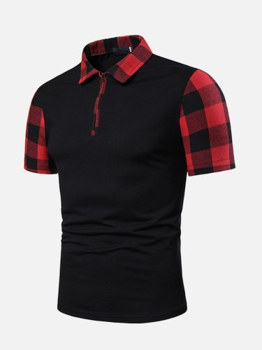 Men's Polo Shirt All-Match Color Block Patchwork Simple Turn Down Collar Fashion Short Sleeve Plaid