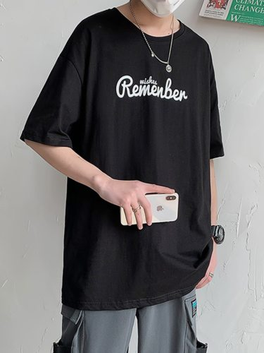 Men's T Shirt Fashion Print Loose Short Sleeve Casual Crew Neck Letter