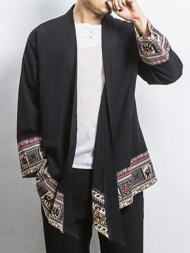 Men's Kimono Print Stand Collar Long Sleeve Patchwork Fashion