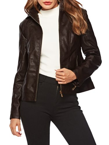 Women's Synthetic Leather Jacket Fleece Lining Detachable Hooded Solid Stand Collar Long Sleeve Zipper Slim