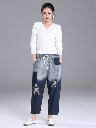 Women's Jeans Drawstring Waist Color Block Frayed Hole Loose Denim Patchwork Casual High Waist Ninth Free female hair clips or socks
