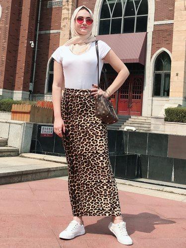 Women's Skirt Leopard Pattern Fit Long Geometry Slim High Waist Sexy Maxi