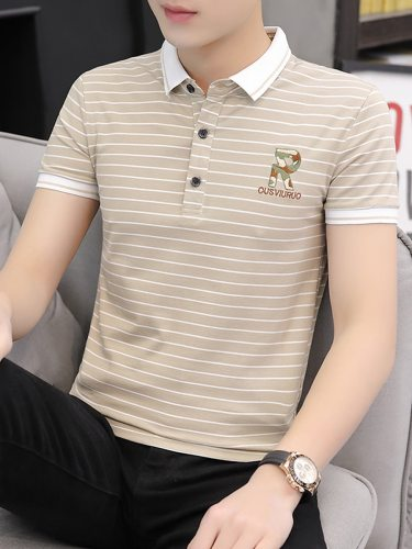Men's Polo Shirt Short Sleeve Going Out Casual Turn Down Collar Striped Slim