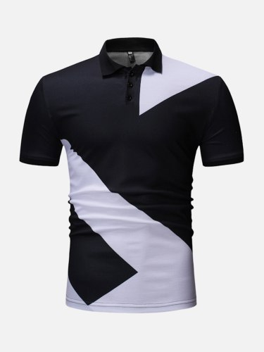 Men's Polo Shirt Colorblock Fashion Turn Down Collar Short Sleeve