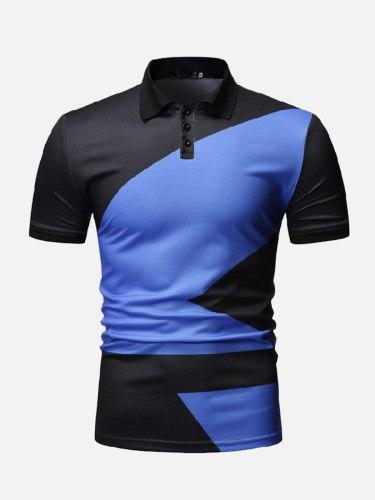 Men's Polo Shirt Color Block Casual Fashion Colorblock Slim Short Sleeve Turn Down Collar
