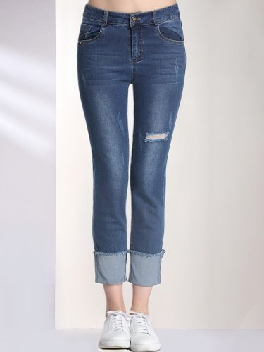 E·BECKY Women's Jeans Frayed Denim Mid Waist Tassel And Do Not Include The Products Sold Solid Color Simple Ninth