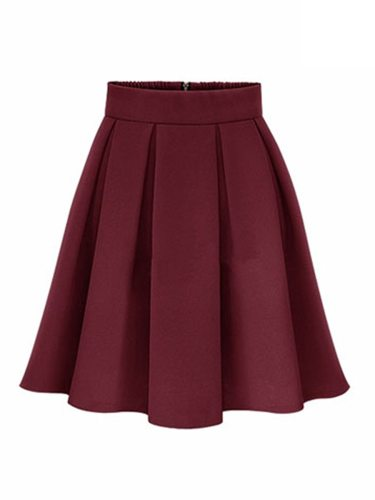 Women's A Line Skirt ed All Match Plus Size Mid Waist Mini Zipper Solid Color Simple