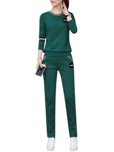 Women's 2Pcs Set Fashion Letter Print Sweatshirt Pants Patchwork Crew Neck Pocket Mid Waist Top Fashion Long Sleeve