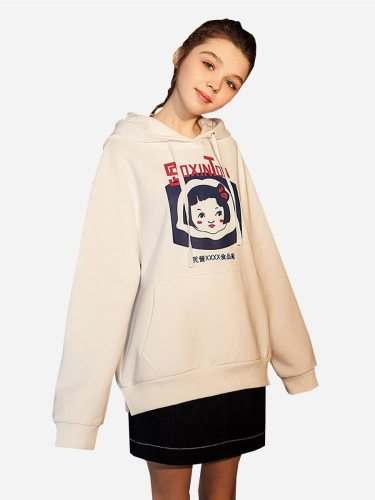 Tonlion Women's Hoodie Pretty Girl Print Loose Thicken All Match Casual Hoodies Long Sleeve