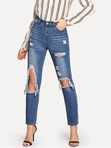 Women's Jeans Fashion High Waist Holes Denim Loose Mid Waist Solid Color Street Style