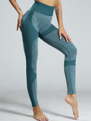 Women's Leggings Color Block Elastic Waist Fashion Patchwork Casual Mid Waist