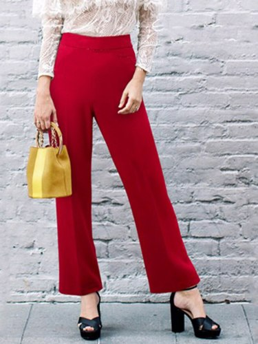 Women's Straight Pants Solid Pocket Sleeve Solid Color Straight Leg Long Elastic Waist Mid Waist Patchwork Elegant