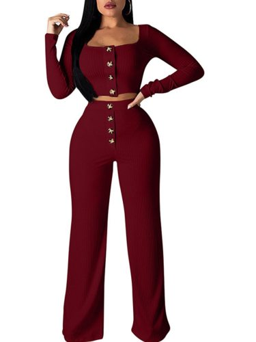 Women's 2Pcs Pants Set Cropped Pullover Wide leg Pants Long Sleeve Slim High Waist Square Collar Solid Button Pants Suits