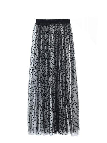 Women's Skirt Black Dot Elastic Waist Long Aline Maxi Polka Dot